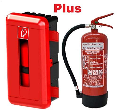 Feuerlöscher 6kg ABC Pulverlöscher mit Manometer EN 3, Messingarmatur Sicherheitsventil (Mit Schutzbox Gimbox für LKW/PKW/Garage/Haus) (Ohne Prüfnachweis und Jahresmarke)