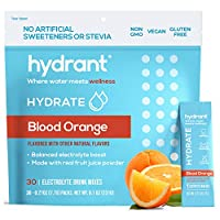 Hydrant Rapid Hydration Drink Mix, Electrolyte Powder Packets with Zinc, Use for: Workout, Sweating, Travel & Heat Recovery, Vegan, Blood Orange Flavor (30 Pack)