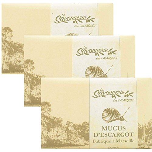 PACK 3 X 125 Grammes - Savon a la bave d'escargot MUCUS D'ESCARGOT enrichie au beurre de karité BIO