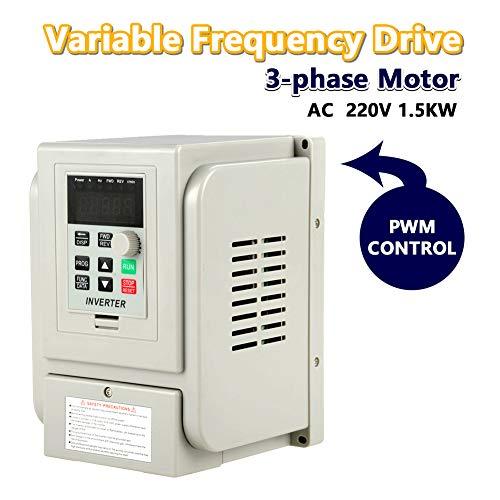 Variador de Frecuencia AC 220V 1.5KW, Acogedor Convertidor de Frecuencia VFD, Ajustable, Alta Precisión, Bajo Ruido, Baja Interferencia Electromagnética, Buen Disipación del Calor
