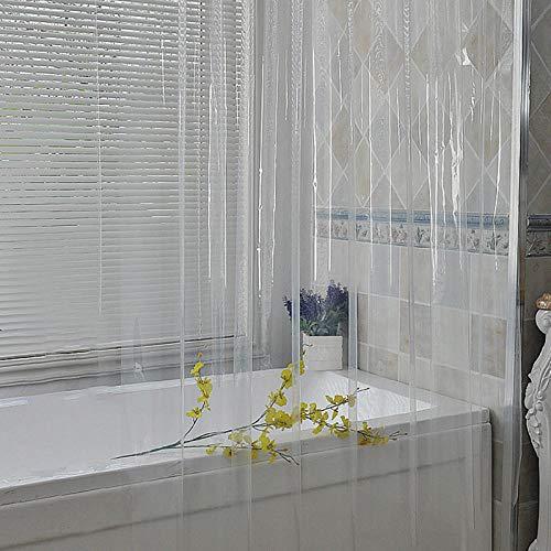Cortina De Ducha Transparente De 120X200 Cm, Cortinas Transparentes Impermeables, Cortinas De Baño De Plástico con Ganchos, Decoración De Baño Peva para El Hogar