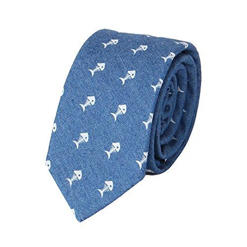 Neckchiefs Corbata Hombre Corbata Azul Marino Estampado Pescado Hombres Corbata