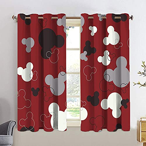 Mickey Minnie Mouse Curtains for Living Room Treatment Curtains 2 Panel Window Treatment Set W42 x L63