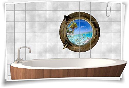 Tegelsticker, tegelafbeelding, tegels, patrijspoor, vissen, eiland, zee, aquarium, bad 80x80cm