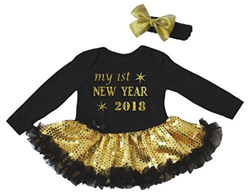 Petitebelle Mijn 1e Nieuwjaar 2018 Zwart Bodysuit Goud Pailletten Tutu Nb-18m