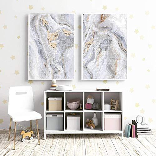 rfjh Wandkunst Grauer Marmor Poster Nordische Wandkunst Achat Leinwand Poster und Drucke Gemälde Bilder für Wohnzimmer Moderne Wohnkultur 50x72cmx2 Ungerahmt