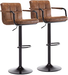 XPELKYS Set of 2 Bar Stools, Adjustable Swivel Bar Chairs, Pub Kitchen Counter Height, Retro Brown