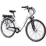 CHRISSON 28 Zoll E-Bike Trekking und City Bike für Damen - E-Lady weiß mit 7 Gang Shimano Nexus Nabenschaltung - Pedelec Damen mit Ananda Vorderradmotor 250W, 36V