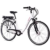CHRISSON Bicicleta eléctrica E-Lady de 28 pulgadas para mujer – blanco con 7...