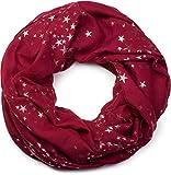 styleBREAKER écharpe snood avec motif imprimé d'étoiles métalliques scintillantes un peu partout, écharpe, toile, pour femmes 01016118, couleur:Lie de vin
