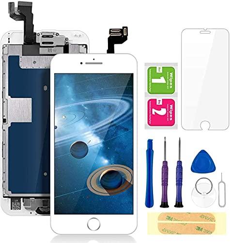 """FLYLINKTECH Écran pour iPhone 6s Blanc 4,7"""" LCD de Remplacement Complet - préassemblés LCD avec capteur de Proximité, caméra Frontale, écouteur et Plaque arrière en métal Kit d'outils de réparation"""