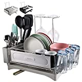 UGZOO Dish Drying Rack and Drainboard Set for Kitchen Counter, Compact Dish Drainer Stainless Steel with Adjustable Swivel Spout, Removable Cutlery Holder, Wine Glasses Rack, Cup Holder, Grey