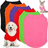 6 Pieces Pet Shirts Plain Dog T Shirt Soft Puppy T-Shirts Small Dog Clothes Cute Dog Pullover Shirt Thin Dog Clothing for Most Dogs (M, Black, Red, Purple, Green, Orange, Pink)