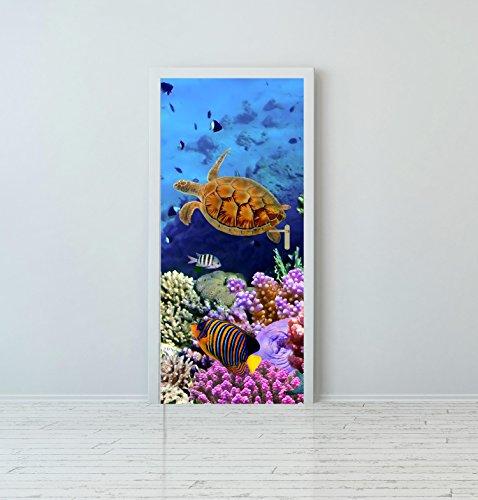 Red Parrot Graphics Aquarium Fisch Meer unter Wasser Tür Wrap Vinyl Print Sticker Selbstklebend, 80 x 200 cm