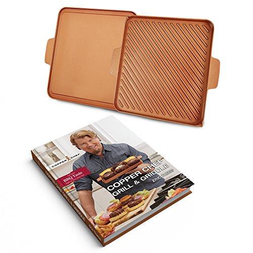 Tristar Products Chef Grill & Griddle libro de cocina de tapa dura, 12 pulgadas, cobre