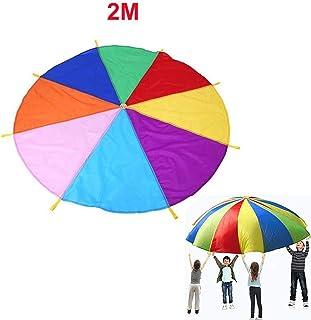 f64c886e48ea HoneybeeLY paracaídas de 78.7 Pulgadas, paracaídas de Juego arcoíris con 8  Asas para Juegos de