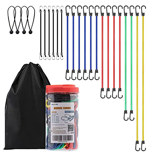 NoOne 25 pcs Heavy Duty Bungee Cords with Hooks in Jar, 100% Latex Core Elastic Strong Bungie Straps Set Assortment with a Drawstring 1416 inches Organizer Bag