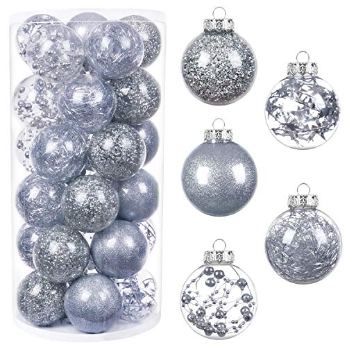 "HBlife 30ct Christmas Ball Ornaments Shatterproof Clear Plastic Baubles for Xmas Tree, Christmas Decor Perfect Hanging Ball, 2.36"" Silver"