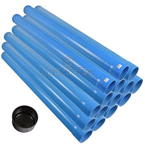 Agora-Tec® 3 Zoll DN 80 Brunnenrohr - Set (15 Meter) mit 13 Meter Vollwandrohr, Endkappe und 2 Meter Filterrohr mit einer (Schlitzweite: 0.75mm)