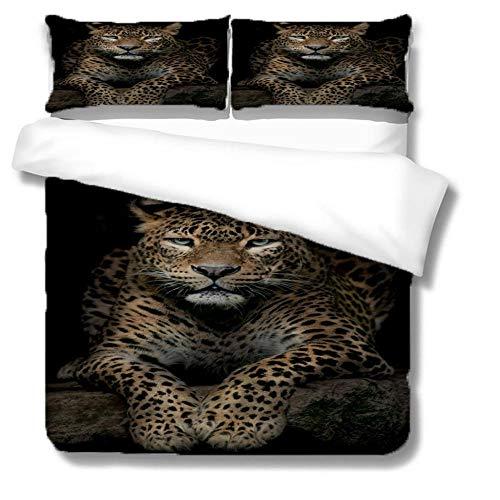 Leopardo 1 Funda Nordica 150x200cm + 2 Fundas de Almohada 48x74cm,Guepardo Animal Regalo Ropa de Cama Infantil de Microfibr, Juego de Ropa de Cama Cierre con Cremallera