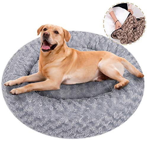 NIBESSER Calming Dog Bed, Donut Dog Bed with Removable Washable Cover, Faux Fur Rose Swirl Plush Round Donut Cuddler Dog Bed Cat Cushion Bed, Anti Anxiety Dog Bed, Comfortable Soft Pet Bed Sofa