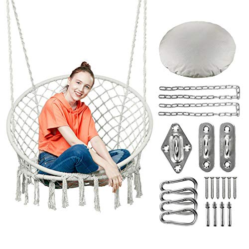 Greenstell Hammock Chair Macrame Swing with Cushion and Hanging Hardware Kits, Max 330 Lbs Hanging Cotton Rope Swing Chair, Comfortable Hanging Chairs for Indoor, Outdoor, Home, Patio, Yard (Beige)