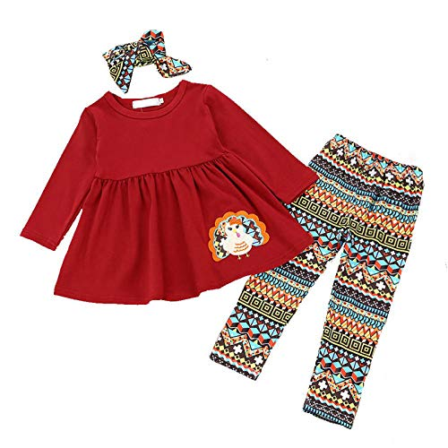 GFQTTY Toddler Baby Girls Thanksgiving Turkey Outfits 3Pcs Long Sleeve T-Shirt + Cute Blouse Striped Pants + Headband Set,100cm