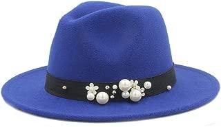 SHENTIANWEI Men Women Winter Fedora Hat with Pearl Pop Wide Brim Church Fascinator Hat Casual Wild Jazz Hat Size 56-58CM