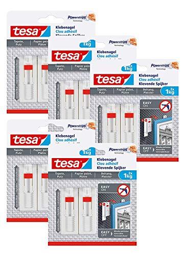 Tesa Verstellbarer Klebenagel für Tapeten und Putz/Selbstklebender Nagel von tesa Powerstrips / 2 x 1 kg Halteleistung (1 kg - 10 Nägel)