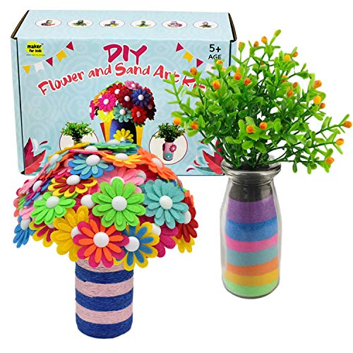 KOKO AROMA Sand Art Craft Kit for Children, Boy & Girl, DIY Flower Project with 2 Vases, 8 Colored Sand, 2 Set of Flowers, Fun Projects Maker for Kids