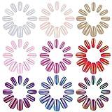 MWOOT Falsch Nägel, 216 Stück Künstlich Fingernägel, 9 Einfarbig Ersatznägel in 12 Größen, Glitzer Gelnägel für DIY Nagelkunst, Long Press-on Fake Nails, Nailart Holographic False Nails