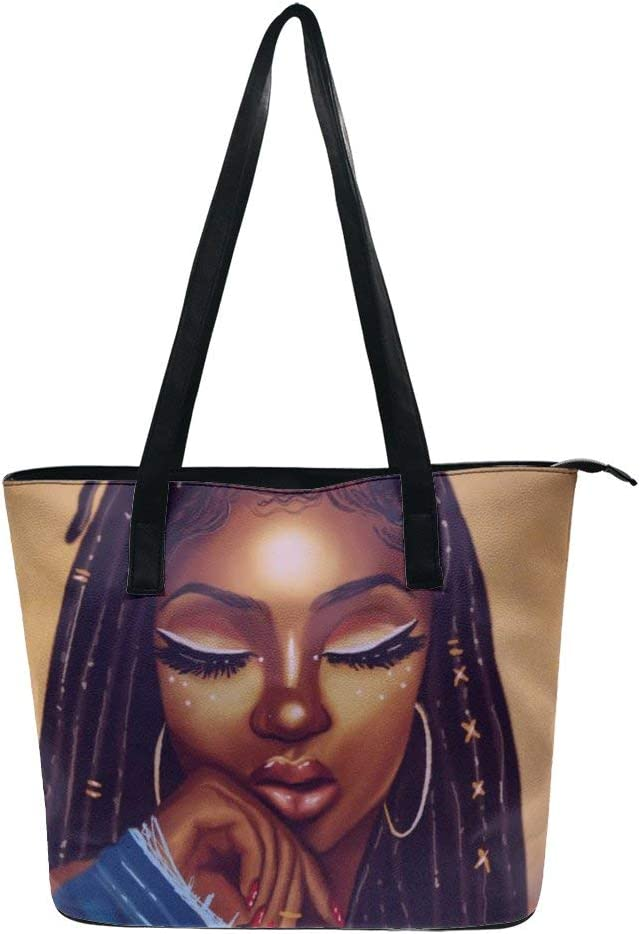 NiYoung Women African American Black Woman Girl Painting Top Handle Satchel Leather Hobo Handbag, Large Volume Sling Shoulder Bag for Travel Work Shopping, Multi Pockets Tote Purse