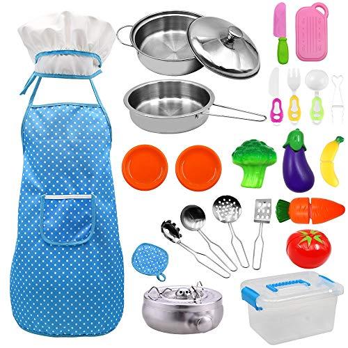 GOLDGE 24 Stück Küchenspielzeug Set Kinderküche Zubehör Kochgeschirr Topf Kinderspielzeug zum Kochen Koch Rollenspiele für Kinder