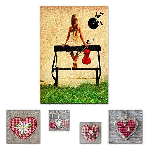 Eco Light Wall Art Bundle sur Toile Lovely Music is My Life 80 x 120 cm pour Salon ou Chambre à Coucher et Adorable Hearts Collage Lot de 4 encadrée des Illustrations pour décoration intérieure