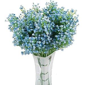 LNHOMY Artificial Gypsophila Real Touch Flowers Baby Breath Fake Plants Wedding Party Home Garden Decoration DIY Flower 10 PCS (Blue)