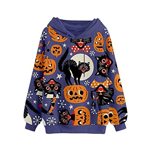 GFGHH Y2k Aesthetic - Sudadera de manga larga con estampado de calabaza, talla E, 90, holgada, para Halloween, carnaval, cuello redondo, algodón, para otoño, tiempo libre, Azul A., S