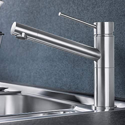 Designer BLANCO ALTA COMPACT Küchenarmatur Edelstahl Finish Optik Wasserhahn Spültischarmatur Waschtischarmatur Einhebelmischer Mischbatterie Spültischbatterie Küche