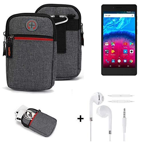 K-S-Trade® Gürtel-Tasche + Kopfhörer Für -Archos Core 50- Handy-Tasche Schutz-hülle Grau Zusatzfächer 1x