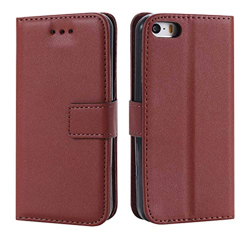 DENDICO iPhone 5C Hülle, Premium Leder Flip Handyhülle Schutzhülle, Wallet Tasche Brieftasche im Bookstyle mit Standfunktion - Braun
