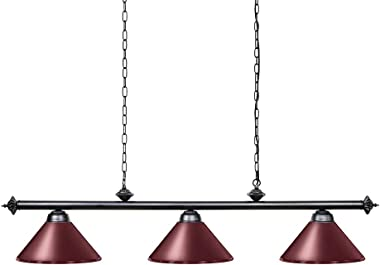 Wellmet Pool Table Lights for 8'/9' Table with 3 Metal Shades, Billiard Lamp for Man Cave, Game Room, Kitchen Island Light fo
