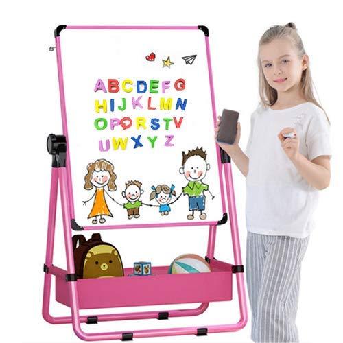 Holzbrett, Kindermagnetbrett, doppelseitige Kinderstaffelei, Whiteboard und Tafel mit verstellbarem Ständer und 360-Grad-Dreh- und Bonusmagnetbuchstaben und -zahlen (Pink)