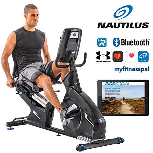 Nautilus Liegeergometer R628 - 14 kg Schwungradsystem - Nautilus Connect - Soundsystem und integrierter Ventilator - RunSocial kompatibel - verstellbarer Nautilus Gel Sitz