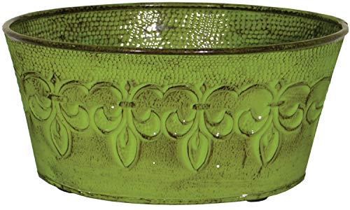 "Robert Allen Home & Garden Pot, 8"", Color Tansy Green Robert Allen MPT01894 Fluer De Lis Series Metal Bowl Planter Flower Po, 8"""
