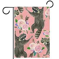 ホームガーデンフラッグ両面春夏庭屋外装飾 12x18inch,アライグマとバラの花