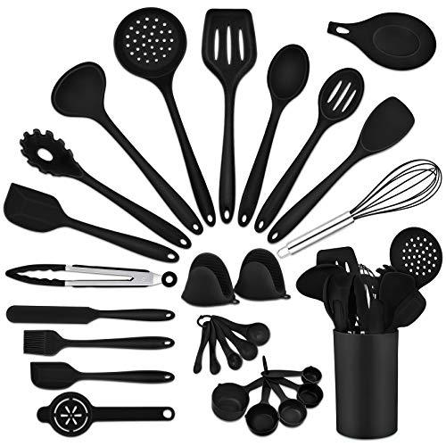 Black Kitchen Utensils Silicone Cooking Utensil Set, P&P CHEF 28Pcs Baking Utensils Spatulas with Holder, Heat-resistant & Non Toxic, Non-stick & Dishwasher Safe