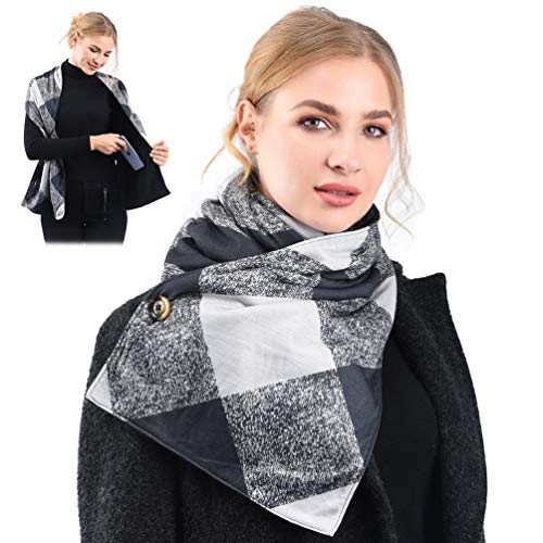 Travel Scarf With 2 Hidden Zipper Pockets, Novelty Fall Winter Scarf, Convertible Wrap Scarf for Women Men (Classic Plaid)