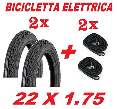 CicloSportMarket 2 Copertoni + 2 Camere d'Aria 22 x 1.75 Nero - Ideale Bicicletta ELETTRICA/Furgoncino/Bici da Ragazzo