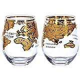 Vinology Vintage Globus Glas Gold, 2er Set