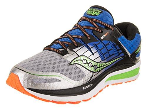 Saucony Men's Triumph ISO 2 Running Shoe, Blue/Silver/Slime, 9.5 M US