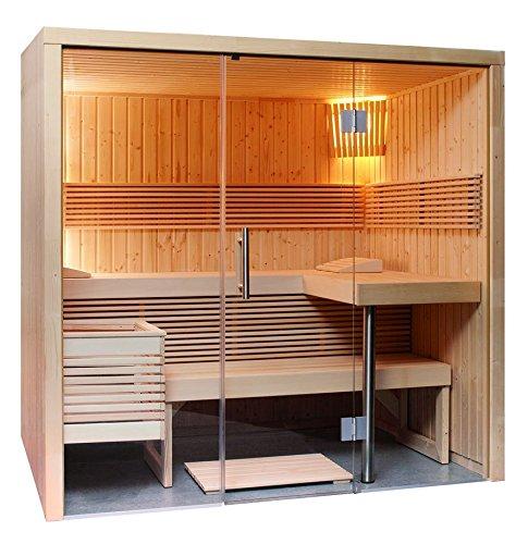 Sauna mit Glasfront 214 x 160 x 201 cm mit EOS Bi-O Filius Saunaofen EOS Steuergerät H3